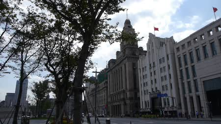 pilasters : Shanghai bund,old business town building & tree.
