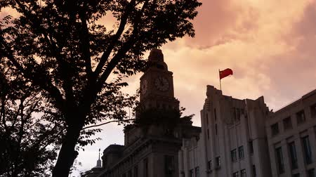 pilasters : Shanghai bund sunset-glow,old business town building & tree. Stock Footage