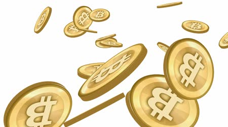 ganhar dinheiro : Many Gold bitcoin coins flying in air,Virtual Currency.