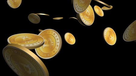 ekonomi : Many Gold bitcoin coins flying in air,Virtual Currency.
