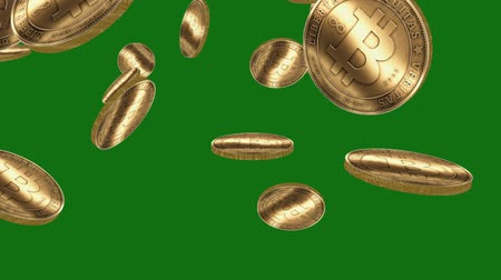 finanças : Many Gold bitcoin coins flying in air on Green Background,Virtual Currency.