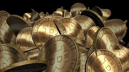 экономика : Many Gold bitcoin coins flying in air,Virtual Currency.