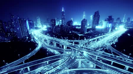 auto estrada : time lapse,Aerial View of freeway busy city rush hour heavy traffic jam highway,shanghai Yanan East Road Overpass interchange,driving racing by with streaking lights trail with super long exposures.