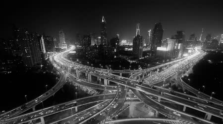 streaking : Aerial View of freeway busy city rush hour heavy traffic jam highway,shanghai Yanan East Road Overpass interchange,driving racing by with streaking lights trail with super long exposures. Stock Footage