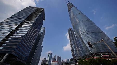 yaya köprüsü : time lapse,shanghai lujiazui finance center & skyscraper,flying clouds.