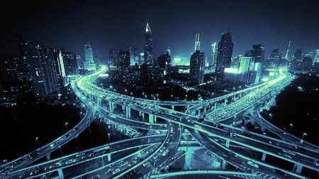 light trails : Aerial View of freeway busy city rush hour heavy traffic jam highway,shanghai Yanan East Road Overpass interchange,driving racing by with streaking lights trail with super long exposures. Stock Footage