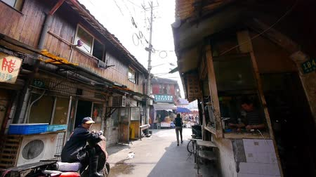 el sanatları : Typical Chinese old town street,shanghai traditional Shopping marketplace,busy People.
