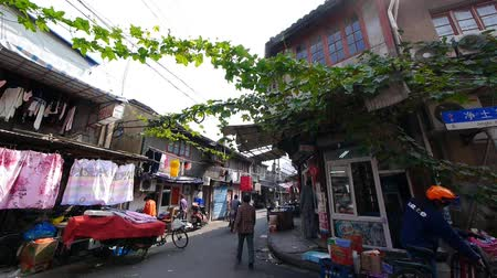 jiangsu : Typical Chinese old town street,shanghai traditional residences area.vines