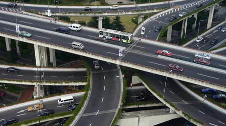 bina : time lapse,Aerial View of freeway busy city rush hour heavy traffic jam highway,shanghai Yanan East Road Overpass interchange. Stok Video