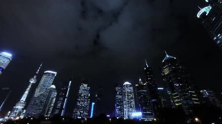 экономический : panoramic of urban skyscraper at night,shanghai pudong business center.