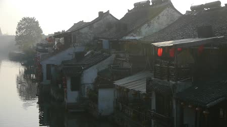 jiangsu : Traditional Chinese houses in XiTang Water Town,at dusk,shanghai,China. Stock Footage