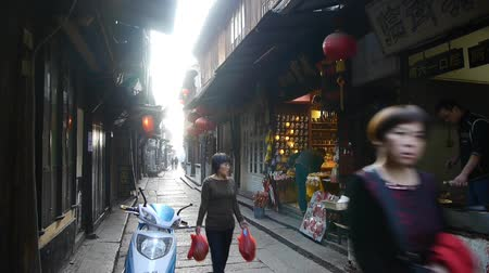 jiangsu : Traditional Chinese houses & street in the morning,XiTang Water Town,shanghai,China.
