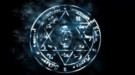 duch : skull with star of David,shine particles & lightning.