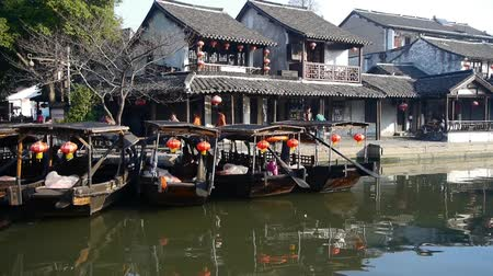 jiangsu : Traditional Chinese houses in XiTang Water Town,,float boats,shanghai,China. Stock Footage