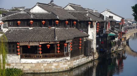 jiangsu : Traditional Chinese houses with red lantern & bridge in XiTang Water Town,shanghai,China. Stock Footage