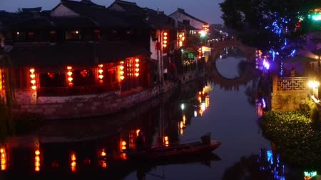 tradicional : Traditional Chinese houses in XiTang Water Town at night,shanghai,China.