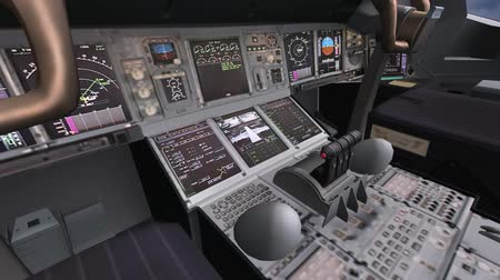 pilótafülke : Aircraft cockpit, high-tech dashboard, Pilots operating plane.