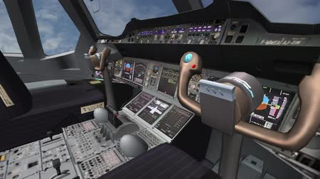 gösterge paneli : Aircraft cockpit,high-tech dashboard,Pilots operating plane.