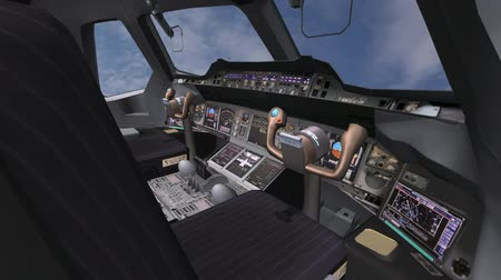 pilótafülke : Aircraft cockpit,high-tech dashboard,Pilots operating plane.