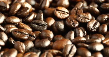 coffee brewing : 4k coffee beans closeup, drinks caffeine food raw material, delicious dishes bean.