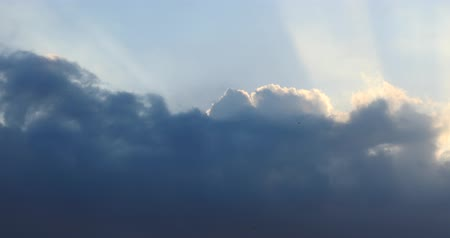 altocumulus : Panoramic of dark altocumulus clouds smoke slowly flying in cloudy sun ray sky timelapse.high cumulus cloud,mackerel sky. Stock Footage