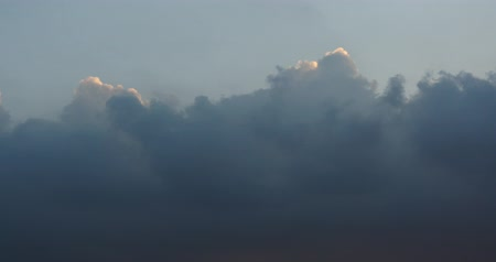 altocumulus : Panoramic of dark altocumulus clouds smoke slowly flying in cloudy sky timelapse.high cumulus cloud,mackerel sky. Stock Footage