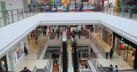 покупка товаров : 4k Timelapse of customers in the shopping mall