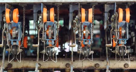 silkworm : A spinning machine collect the silk threads in Reeling machine and Textile-machine in operation.