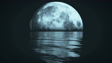 scény : Full Moon on the water at night,reflect on the sea,Science Fiction Scene.