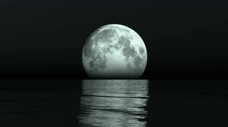 full moon rises from the water at night,reflect on the sea,Science Fiction Scene.