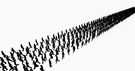 Crowd Of People walking turned into a row array,businessman silhouette,army matrix.