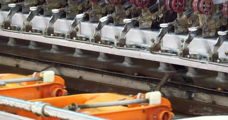 silkworm : Silkworm cocoon on assembly line,china silk factory.