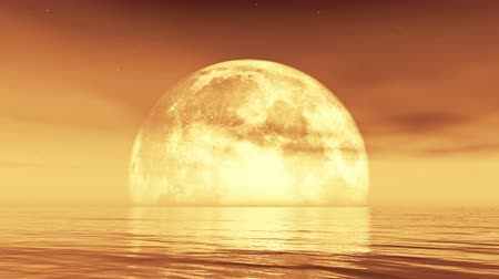 sen : full moon rises from the water,reflect on the sea,Science Fiction Scene,cloud  smoke flying,golden evening light.