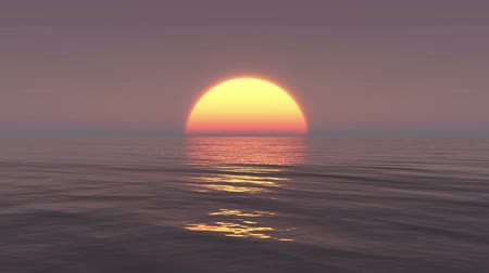 şafak : Big Sun Rise Over Ocean,Sunrise Time Lapse. Stok Video