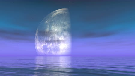fullmoon : Moon Phases Realistic Fit Height in water,time lapse of the Moon going through its phases,Science Fiction Scene,cloud  smoke flying.
