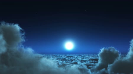 высотное : night flight in white clouds mass,moon  heaven sky,flying in sky from ten thousand meters high altitude,close to the outer space.