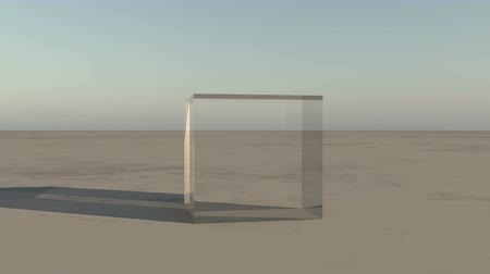 budoucnost :  glass cube rotation on the wilderness,Science Fiction world.