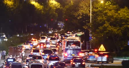 europe population : Modern urban city busy traffic jams night,highway street congestion building. Stock Footage