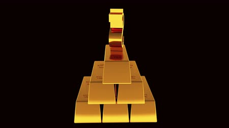 karát : A pile of gold bullion  rotate dollar symbol,treasury wealth Ingot luxury finance goods trading,3D animation of stacked gold bars.