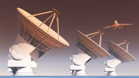 parabola antenna : airplane flying over Satelite Dishes,Very Large Radio Observatories,Military Radar.