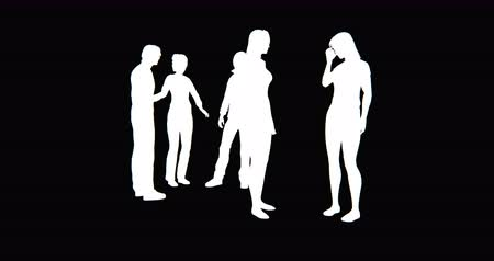 partnerstwo :  Business people silhouette talking or Using mobile Phones. Wideo
