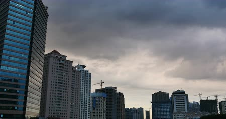 properties : Altocumulus clouds in sky over CBD office buildings high-rise  skyscraper at urban city. Stock Footage