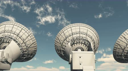 parabola antenna :  Satelite Dishes at dusk,Very Large Radio Observatories,Military Radar,Space exploration. Stock Footage