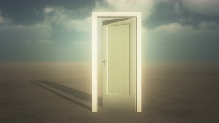 drzwi : open door  timelapse flying clouds on the wide plains,sci-fi scenes,heaven door. Wideo