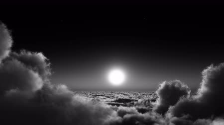 vila : night flight in white clouds mass,moon  heaven sky,flying in sky from ten thousand meters high altitude,close to the outer space.