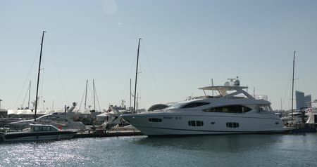 deep seaport :  Luxury yachts docked in the harbor