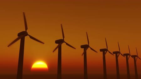 solarium : Windmill Turbines Clean At Sunrise,Green Wind Energy,new power energy. Stock Footage