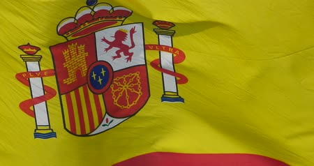 papyrus : Spain flag is fluttering in wind.