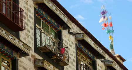 wall building feature : famous barkhor street building in lhasa,tibet. Stock Footage