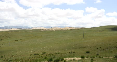 geological feature : panoramic view of desert sand dunes & grassland scenery,plateau landform,Qinghai,northwest China. Stock Footage